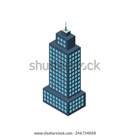 vector 3d isometric building skyscraper icon - stock vector