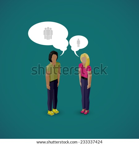 vector 3d isometric cartoon illustration of man and woman characters. business infographic or advertising template. communication concept - stock vector
