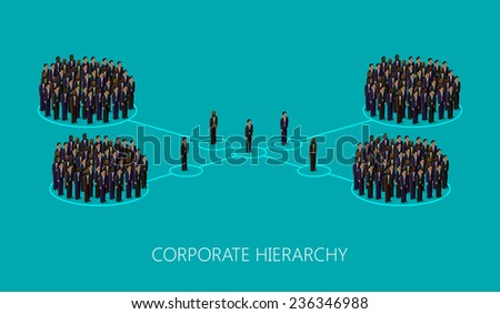 vector 3d isometric illustration of a corporate hierarchy structure. a crowd of men (business men or politicians) wearing suits and ties. leadership concept. management and staff organization - stock vector