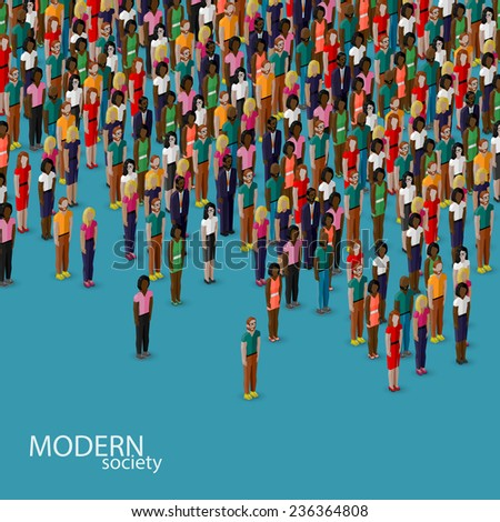 vector 3d isometric illustration of society members with a crowd of men and women. population. urban lifestyle concept - stock vector
