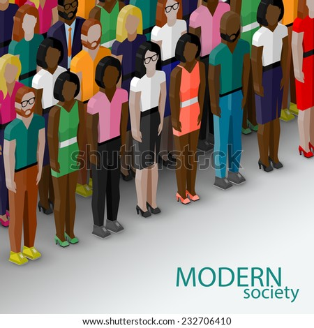 vector 3d isometric  illustration of society members with a large group of men and women. population. modern society concept