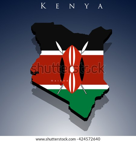 vector 3d Kenya map with a flag on a blue background, EPS 10  - stock vector