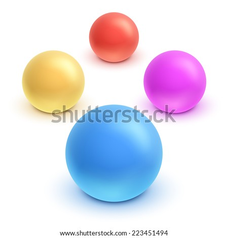 Vector 3d kids colorful rubber ball set. - stock vector