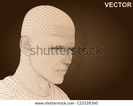 Vector 3D man or human head made of beige wireframe or mesh isolated on brown  background