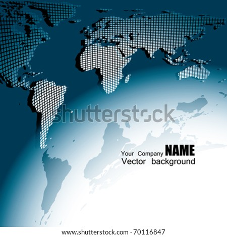 Vector 3D Map Earth. Square Style - stock vector