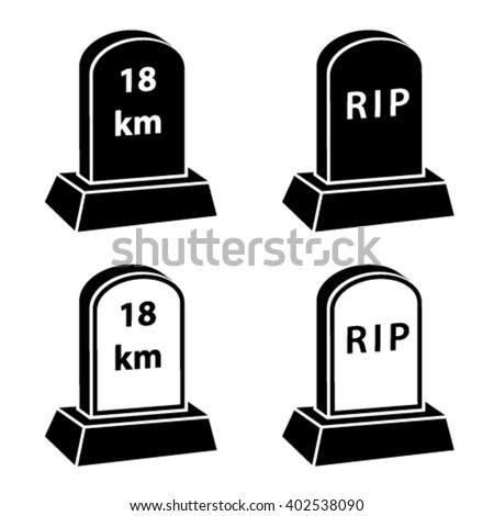 vector 3d milestone tombstone black symbols - stock vector