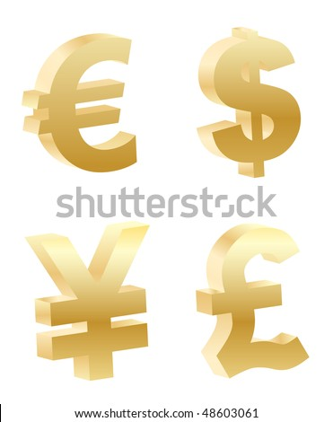 vector 3d money symbols
