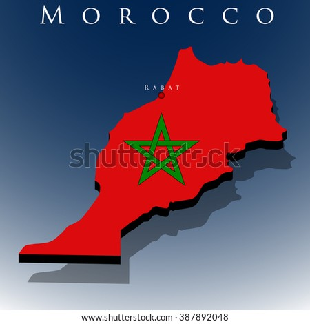 vector 3d Morocco map with a flag on a blue background, EPS 10