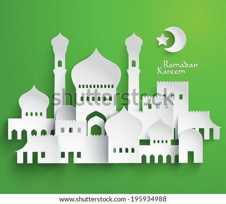 Vector 3D Muslim Paper Graphics. Translation: Ramadan Kareem - May Generosity Bless You During The Holy Month. - stock vector