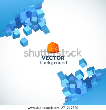 Vector 3D object explosion background with cubic particles in the corners - stock vector