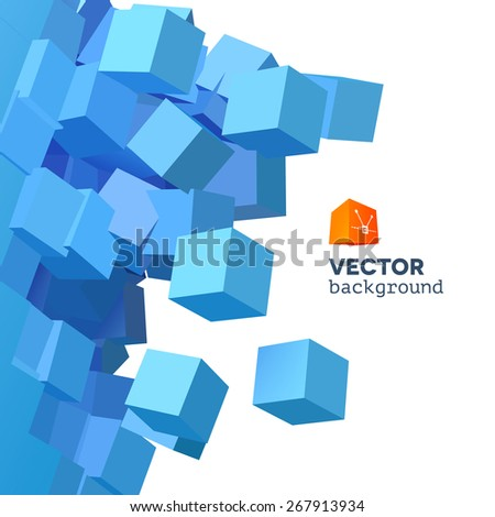 Vector 3D object explosion background with cubical particles - stock vector