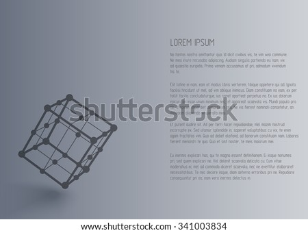 Vector 3d perspective outline cube with realistic shadow . Abstract concept illustration ,template , background ,poster for business , science , technology  - stock vector