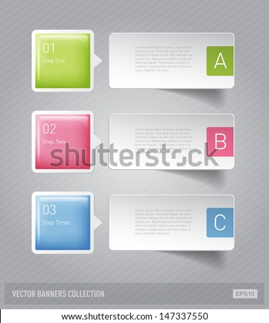 Vector 3d plastic and paper glossy progress banners infographic - stock vector
