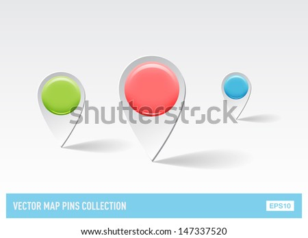 Vector 3d plastic glossy map pins - stock vector