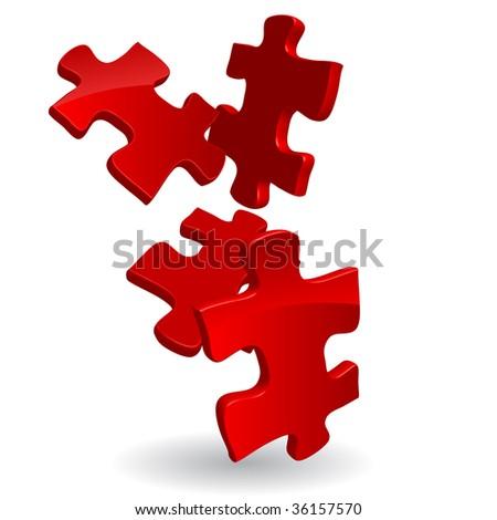 vector 3d puzzles - stock vector