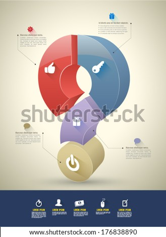 Vector 3D question mark step with icons long shadows / can use for element graphic / printing / web / business concept template. - stock vector