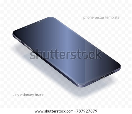 vector 3 d realistic cell phone black stock vector royalty free