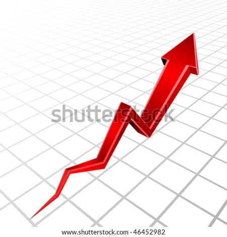 Vector 3d red arrow graph - stock vector