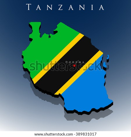 vector 3d Republic of Tanzania map with a flag on a blue background, EPS 10