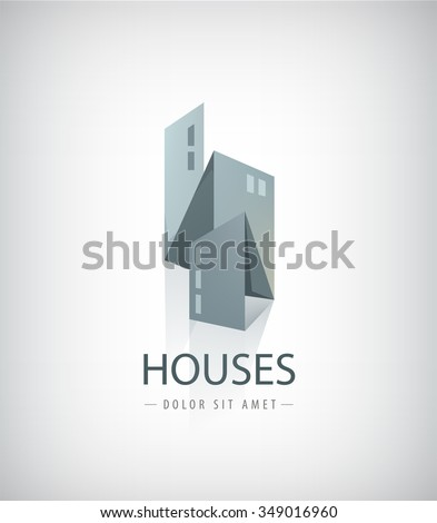 Vector 3d ribbon, abstract houses, city, buildings logo.