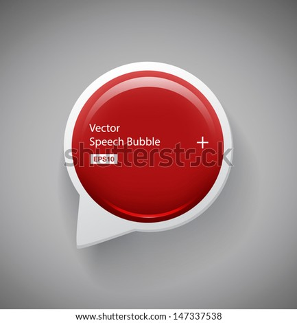 Vector 3d round red plastic glossy speech bubble
