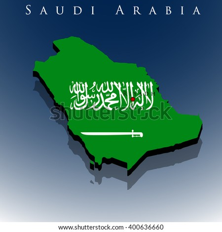 vector 3d Saudi Arabia map with a flag on a blue background, EPS 10