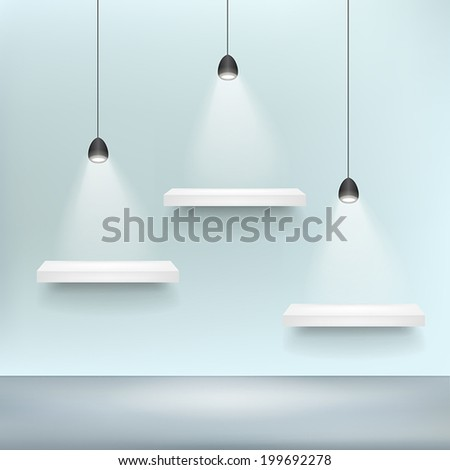 vector 3d shelf for exhibit blank template and light - stock vector