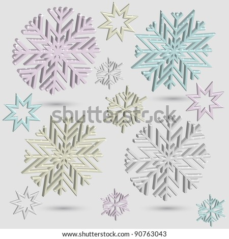 vector 3d snowflakes