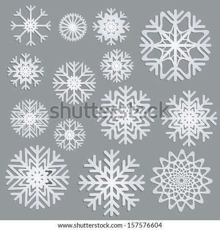 Vector 3d snowflakes set - stock vector