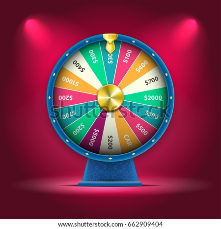 Vector 3D Spinning Fortune Wheel, Realistic Style Lucky Roulette Illustration