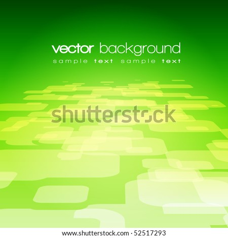 Vector 3D square on the green background with text - stock vector