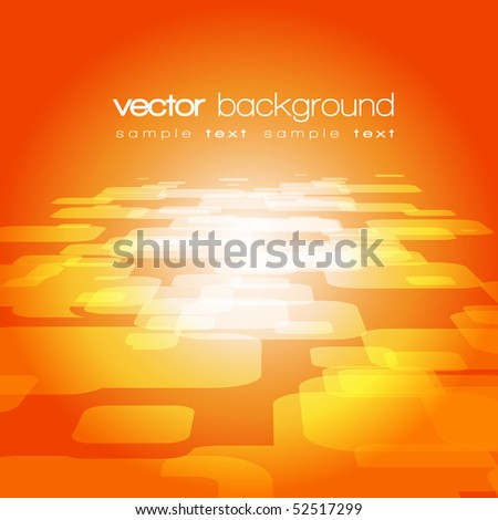 Vector 3D square on the orange background with text - stock vector