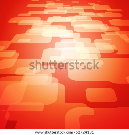 Vector 3D square on the red background - stock vector
