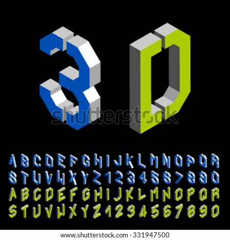 vector 3D stencil angular isometric font alphabet - stock vector