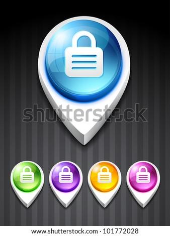 vector 3d style lock icon design art - stock vector