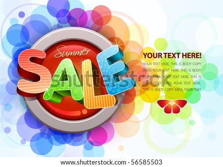 Vector 3d summer sale design template. All elements are layered separately. Easy editable eps10 file. - stock vector