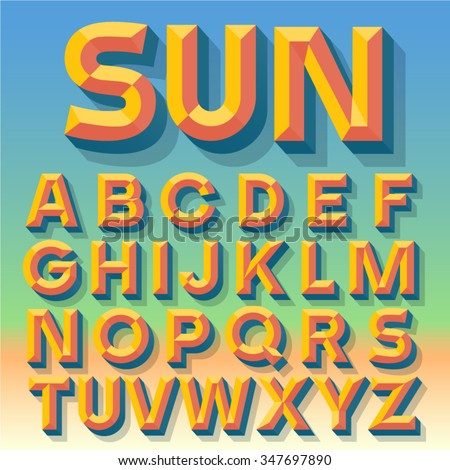 Vector 3D summer simple bold beveled alphabet with shadow. Multicolored version. - stock vector