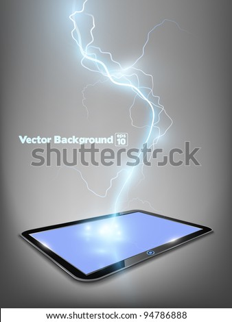 Vector 3d touch tablet model with blue shine lightning flash. Part of technical gadget set. - stock vector