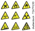 vector 3d warning signs - stock photo