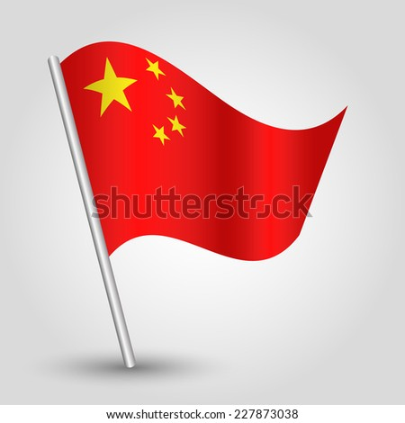 vector 3d waving chinese flag on pole - national symbol of China with inclined metal stick - stock vector