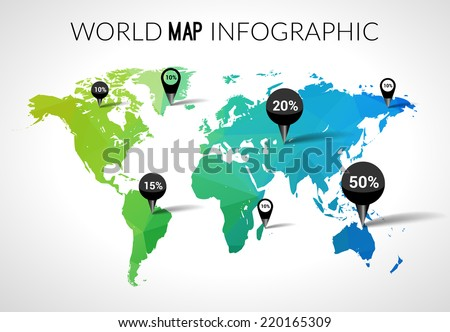 Vector 3d world map points percantage vectores en stock 220165309 vector 3d world map with points and percantage triangle green blue travel globe world map gumiabroncs Choice Image