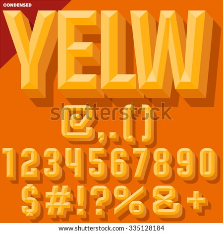 Vector 3D yellow condense beveled symbols and numbers  with shadow. Simple colored version. - stock vector