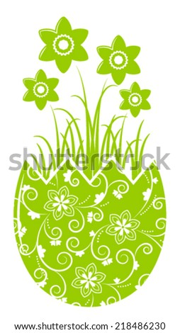 vector daffodils in egg pot isolated on white background