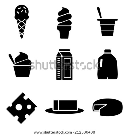 Vector Dairy Icons Set - stock vector