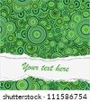 Vector - damaged paper with place for text (green pattern) - stock photo