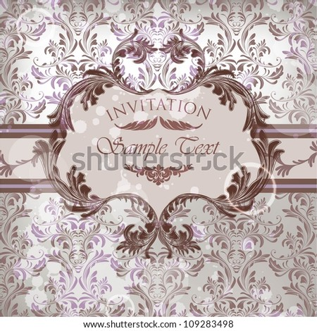 Vector damask background with floral calligraphic frame