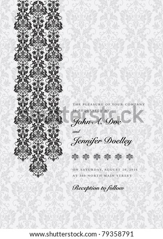 Vector Damask Column Background. Easy to edit. Perfect for invitations or announcements. - stock vector