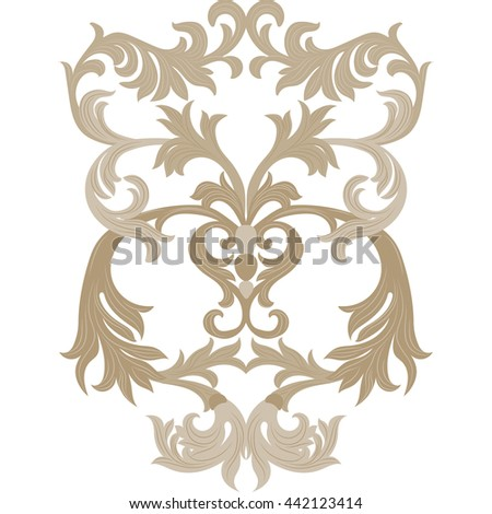 Vector damask ornament. Exquisite Baroque template. Classical luxury fashioned damask ornament, Royal Victorian texture for wallpapers, textile, wrapping. Almond beige color ornament - stock vector
