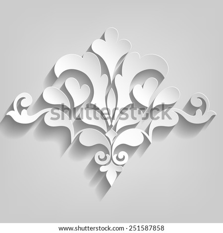Vector damask ornamental element. Elegant floral abstract element for design. Perfect for invitations, cards etc. - stock vector