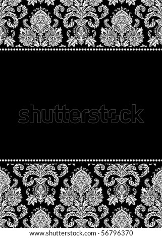 Vector damask pattern and frame. Easy to scale and edit.